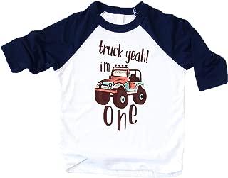 Boys 1st Birthday Outfit Truck Funny Truck Yeah I'm One 1st Birthday Bodysuit