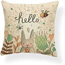 PSDWETS Easter Rabbit with Flowers Home Decor Pillow Covers Cotton Linen Cute Bunny Throw Pillow Case Cushion Cover 18 X 18