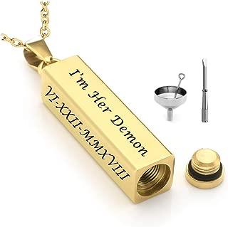 Jovivi Personalized Custom Vertical Tube Bar Urn Necklace for Ashes Memorial Keepsake Pendant Cremation Jewelry w/Filler Kit