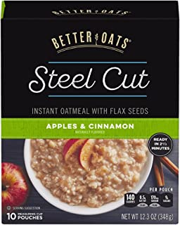 Better Oats Oat Revolution Steel Cut, Apples and Cinnamon, 10 Pouch Boxes (Pack of 6)