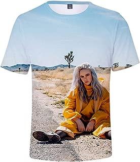 AIDEHUA Unisex S/ängerin Billie Eilish T-Shirt Bellyache Dont Smile at Me Kurzarm-Shirt Hiphop Street Fashion Musik Fans T-Shirt