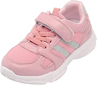 Kids Mesh Running Sneakers,Casual Breathable Lightweight Striped Lace up Hook & Loop Bling Sports Shoes