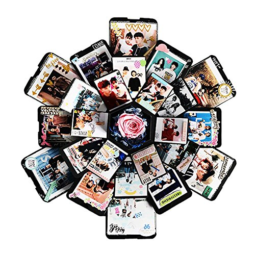 Hippicity Explosion Box, DIY handgemaakte fotoalbum Scrapbooking, geschenkdoos met 6 gezichten voor huwelijksdoos, verjaardagsfeest (zwart)