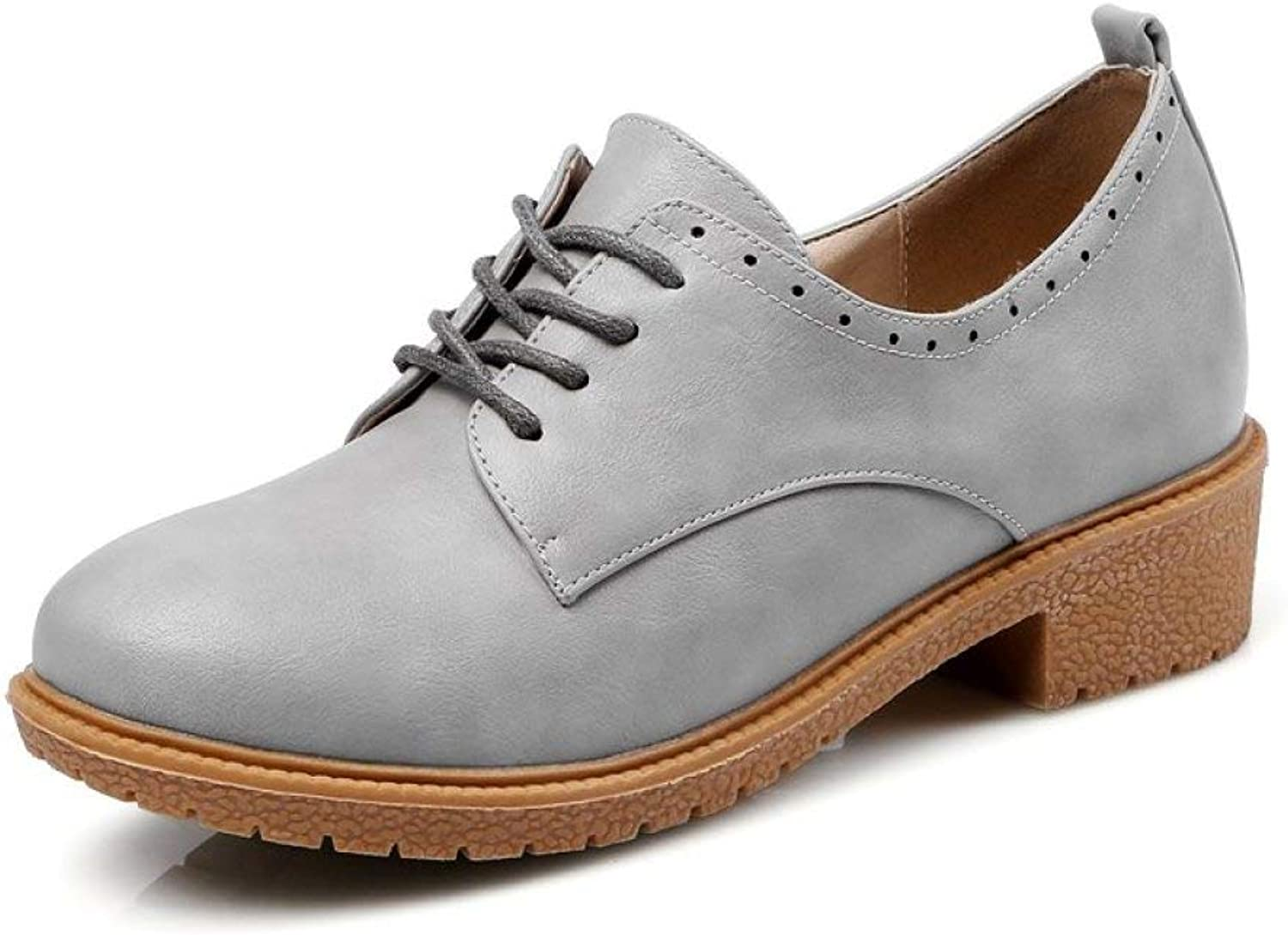Fay Waters Women's Perforated Platform Oxfords Round Toe Lace UP Low Heel Brogue Wingtip shoes