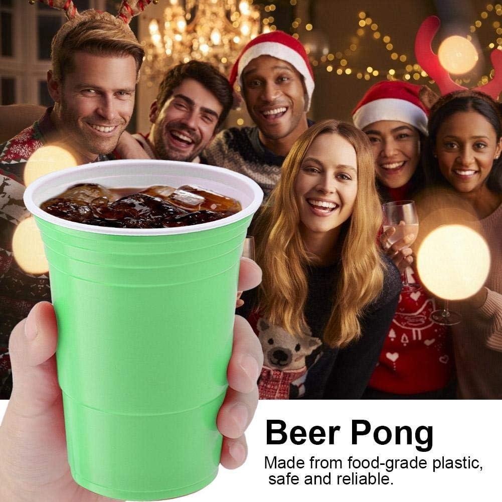 Duokon Ensemble de bi/ère Pong Ensemble de Jeu /à Boire Beer Pong Cups-25 Tasses avec Une Bonne r/ésistance /à la Fissuration Rouge