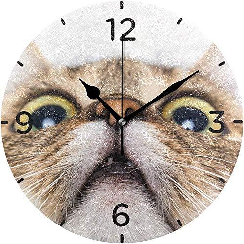 Tabby Cat AntiGraffio wandklok, geruisloos, 9,5 inch