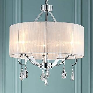 Bestier Moderne Elegent Cristal Pendentif Lustre Tambour 3 Luminaires Chrome Luminaire LED Plafonnier Dia 50 cm H 57 cm