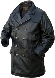 Noble House Men's U-Boat Marine Coat Black Cowhide Leather