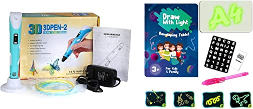 Robocraze 3D Pen with A4 Size Magic Pad for Kids   Professional 3D Pen kit and 3D LED Drawing Board Combo