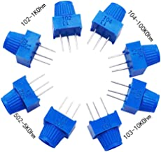 TWTADE / 8pcs 3386p Potentiometer 1K 5K 10K 100K Ohm Each 2pcs Breadboard Trim Potentiometer kit with Knob