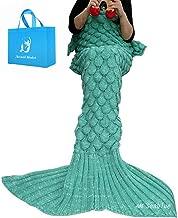 A AM SeaBlue Colas de Sirena para Adultos Mantas Sirena Mujer Manta Sirena Niñas Mantas para Sofa Saco de Dormir Todas Las Estaciones