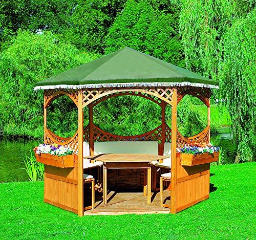 Promadino Pavillon Palma mit grünem Foliendach+Möbeln