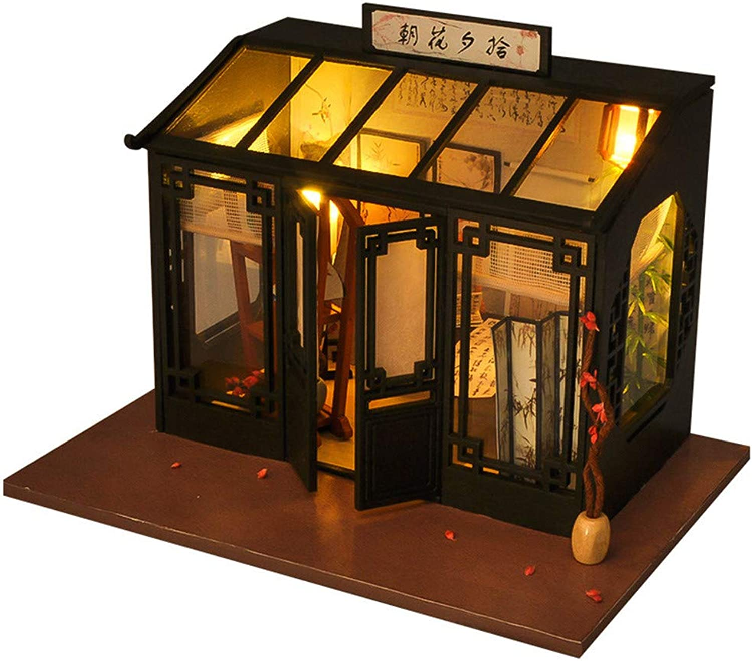 Dollhouse Miniature DIY House, Creative Handmade Diy Cabin Model World Vintage Shops Series Wooden Dolls House with Furniture and Accessories, Educational Toys for Girls  Mini Hou