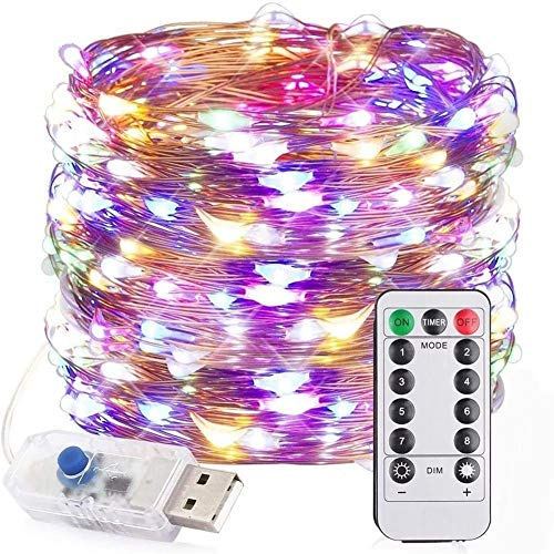 Wright Beard Cambio de Color Luces de Tira 100LED 8 Cadena de luz Modos USB Vacaciones de Navidad lámpara Decorativa for el hogar Interior 12M Boda del Partido de la Guirnalda