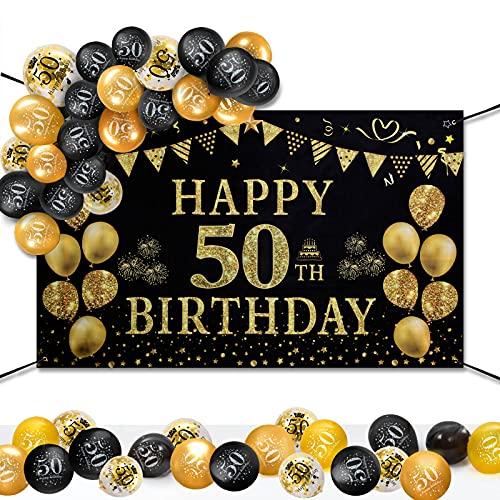 GuKKK 50 Años Decoración de Fiesta de Cumpleaños de Oro Negro, 50 Pancarta Feliz Cumpleaños, 15 Pcs Globos de Cumpleaños, Fondo Foto Cumpleaños, Póster de Tela Cartel Extra Grande para Niños Niñas