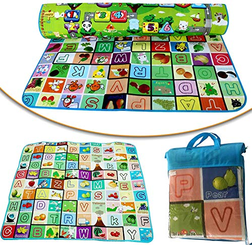 2 Side Play Mat Game Baby Waterproof Large Size Double Side Big Soft Crawl Floor Play Mat for Kids with Zip Bag to Carry (6 X 4 ft, Multicolour)
