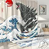 DESIHOM Cool Japanese Shower Curtain Anime Godzilla Shower Curtain Funny Shower Curtain Asian Artistic Shower Curtain Polyester 72x72 Inches