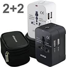 2PACK Universal World Travel Adapter with Dual USB Charging Ports for Any Cell Phones and Other USB Charging Devices inc. 2 Hard Pouches Works in USA EU UK AUS Worldwide Outlet Wall AC Power Plug