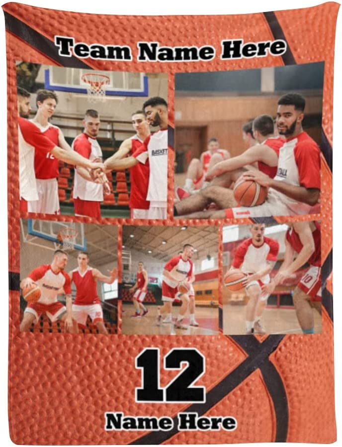 Basketball Blanket Custom Picture Blankets Name Max 85% OFF Lowest price challenge with Pers Photos