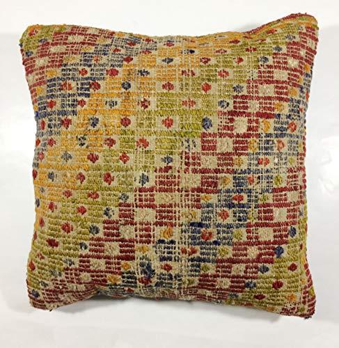 Kelim Kissen 40x40 cm Kissenbezug Orientalisch Handgefertigt Teppiche Kilim Kissenhülle aus Wolle Oushak Uschak Türkisch Handarbeit code 129