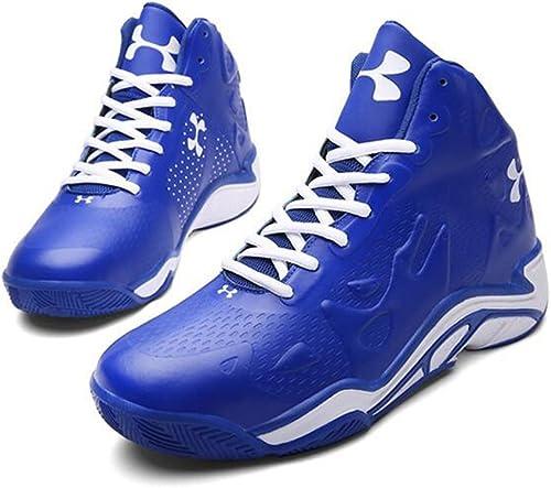 Basketball Chaussures Homme en Cuir Synthétique 3D Mode Soulagement De Sport Résistant à l'usure Non Slip baskets,bleu,42