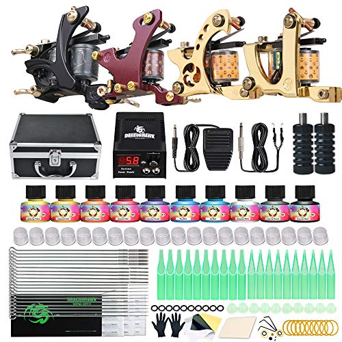 Dragonhawk Complete Tattoo Kit Beginner Coils Tattoo Machines Disposable Needles Power Box Supply with Case 85N-4