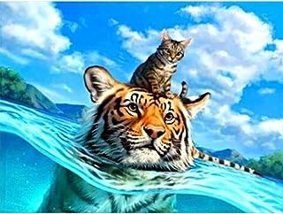 SO-buts 5D Diamantmalerei, 5D voller Bohrer, Diamant-Stickerei, Kreuzstich-Malen nach Zahlen Kit für Erwachsene, der Wattierender Tiger und sein Sohn a
