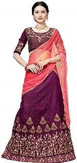 Indian Dresses Store BRIDAL4Fashion woman'sTaffeta Satin Semi Stitched Purpale Colour Lehenga Cholis (Free Size) Purple