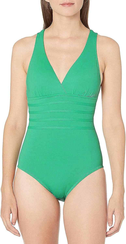 La Blanca Island Goddess Strappy Cross-Back One-Piece Swimsuit Dark Mint 12