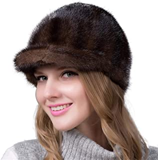 Guomao Women Winter Knitted Hat Quality Fight Skin Mink Fur Hat Fashion Wild Child Knight Cap Hat (Color : Brown, Size : L)