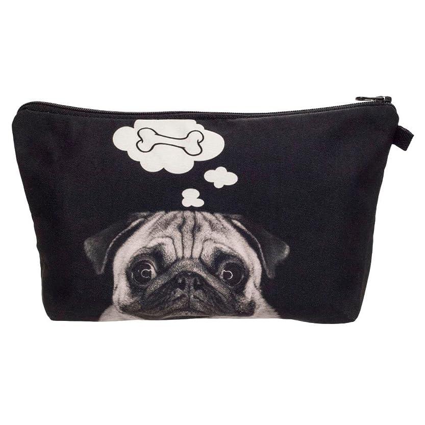飲食店豆腐冊子【560kick】 考える 犬 パグ ポーチ メイクグッズの収納やペンケースにも