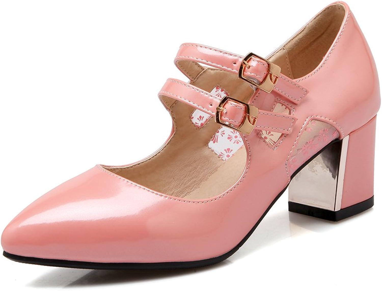 AIWEIYi Elegant Womens Fashion Pointed Toe Thick High Heels Platform Pumps Dress shoes Black