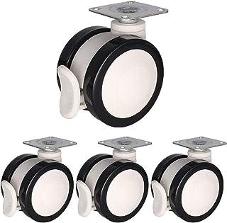 Casters 4 stuks Castor 2/2,5/3 inch caster-Shive/casterrem, PU/nylon, Norea Solida-Shilet-uitrusting, cosmeticabed, bed, c...