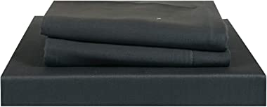 Just Linen 210 TC 100% Cotton Sateen, Solid Dark Grey Color, Large King Size Flat Bed Sheet with Pillow Covers
