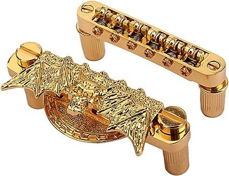 ゴールデン髑髏蝙蝠テールピース / SM SunniMix 1セットギターTuneOMaticローラーブリッジエレキギターブリッジパーツゴールデン