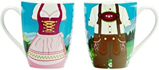 ebos Dirndl Lederhose - Tasse | Kaffeetasse, Teetasse, Porzellantasse | lebensmittelecht, spülmaschinengeeignet Bavaria