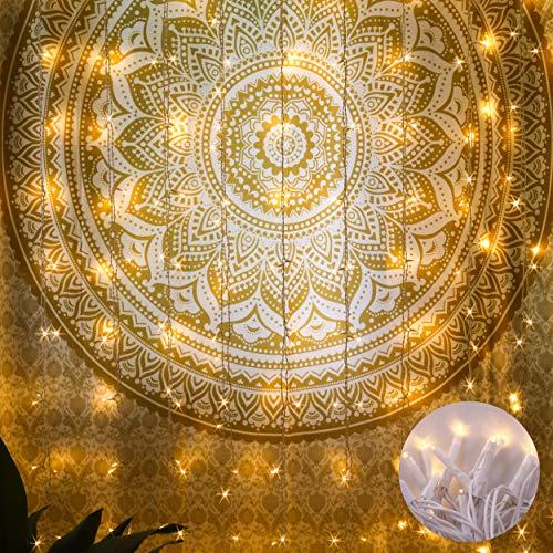 LED Lichterketten, für Vorhang, Wand, Fenster, Innen und Außen Dekoration, 19 Saiten, 342er Warmweiße LED, Wasserdicht, Lichterketten mit Stecker, Timer, Erweiterbar, Weiß Elektrischer Draht