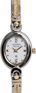 Casual Watch for Women by Accurate, Gold, Oval, ALQ344S