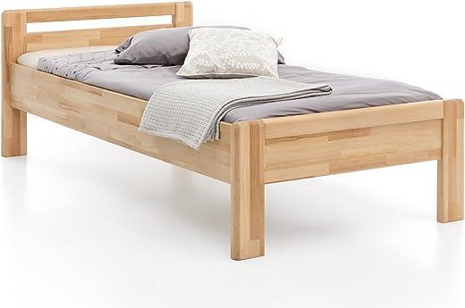 WOODLIVE DESIGN BY NATURE Massivholz-Bett aus Kernbuche, als Seniorenbett geeignet, in Komforthöhe, geöltes Einzel- und Komfortbett mit Kopfteil…