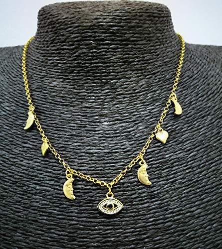 Gargantilla Protección, Gargantilla el Karma en plata dorada,Collar Mujer Joven, Colgantes de luna y corazón en plata de ley dorada.