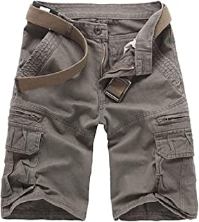 XINHEO Men Multi-Pockets Straight Relaxed Shorts Plus-Size Combat Work Pants
