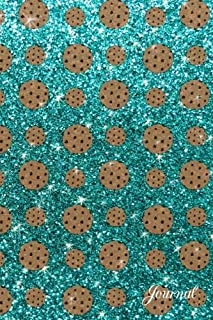 Journal: Faux turquoise glitter chocolate chip cookies notebook