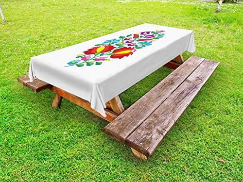 ABAKUHAUS Ungarn Outdoor-Tischdecke, Traditional Folk Kalocsa, dekorative waschbare Picknick-Tischdecke, 145 x 210 cm, Mehrfarben