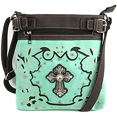 Justin West Embroidery Floral Glitter Bling Rhinestone Cross Shoulder Concealed Carry Handbag Purse Trifold Wallet
