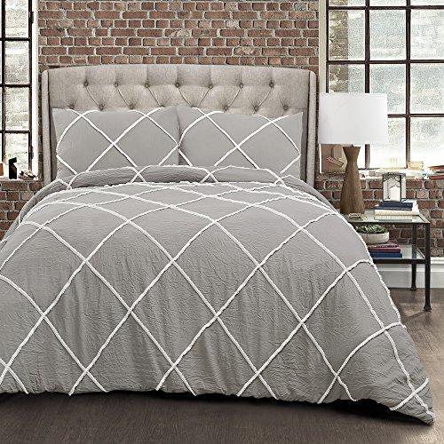 Lush Decor Diamond Pom Pom Comforter 3 Piece Set with Pillow Shams - King - Gray