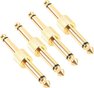 Acoplador de pedal de guitarra profesional Devinal, conector de pedal de efecto de guitarra TS de 1/4 pulgada a pedal, recto, chapado en oro (paquete de 4)