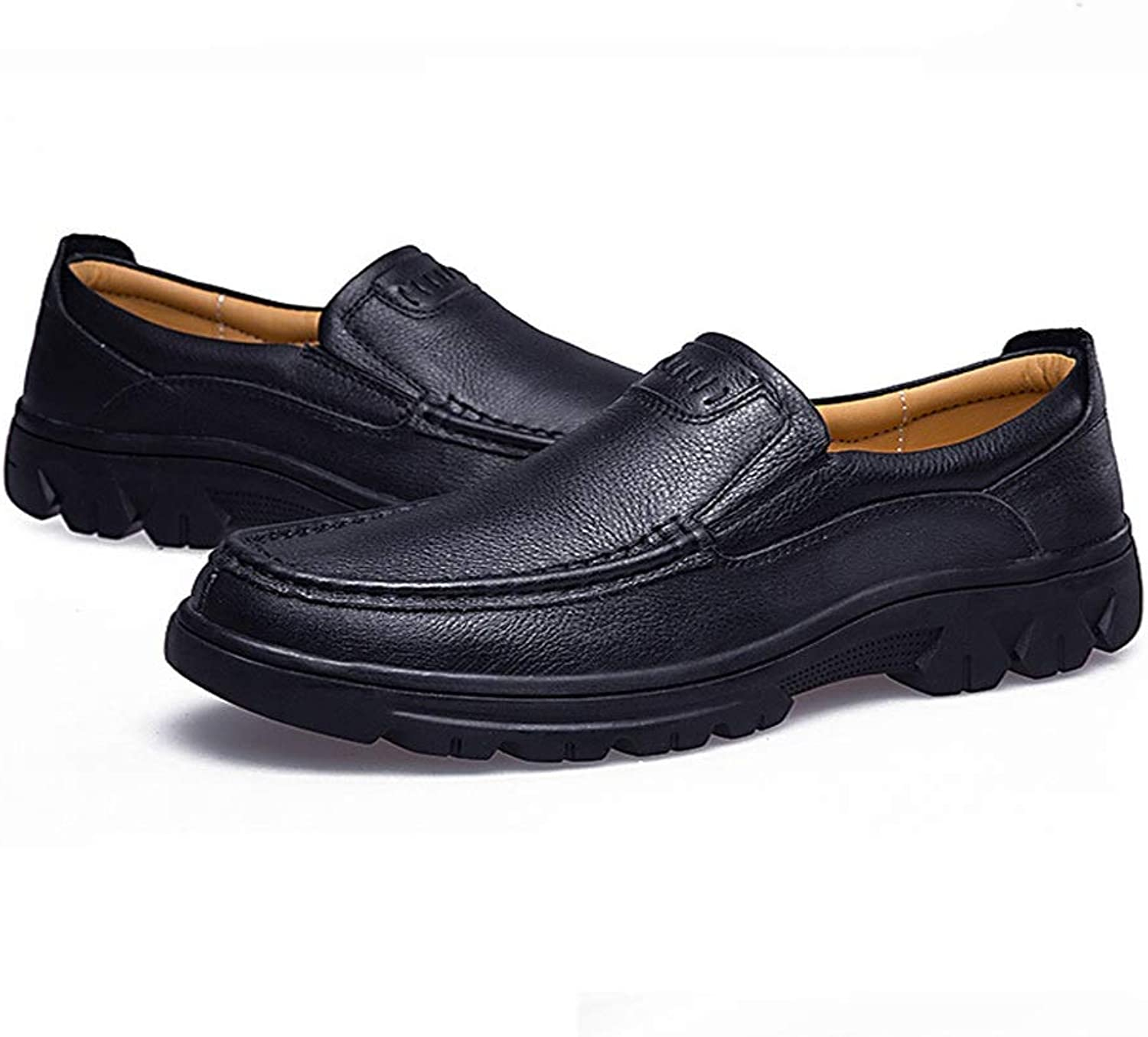 CATEDOT Peas shoes Spring and summer Lightweight Lazy shoes Comfortable Genuine Leather (color   Black, Size   7.5UK)