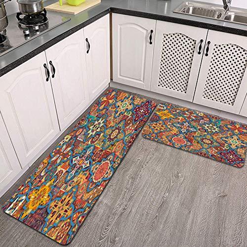 2 Piezas Alfombrillas de Cocina,Flor Floral étnica de Patrones sin Fisuras Fondo de Mosaico Colorido Antideslizante Alfombra para Puerta de Baño Juego de alfombras Cocina Lavables