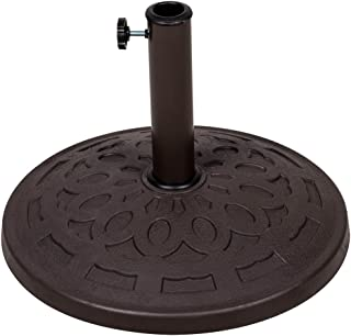 Sundale Outdoor Universal Resin Patio Umbrella Base Metal Heavy Duty Stand, Bronze Finish, 19.4-in Diameter, 31 lbs