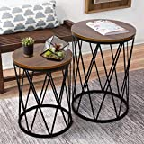amzdeal Nesting Coffee Side Table, Stacking End Table for Home Office, Modern Decor Accent Tables with an Industrial Wood Finish and Metal Frame - (Vintage Brown, Set of 2)